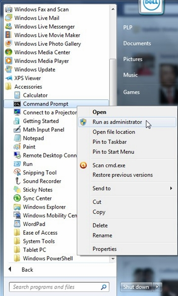 Navigate to Start button -> All Programs -> Accessories ->Command Prompt. Right click on Command Prompt and select 'Run as administrator'.